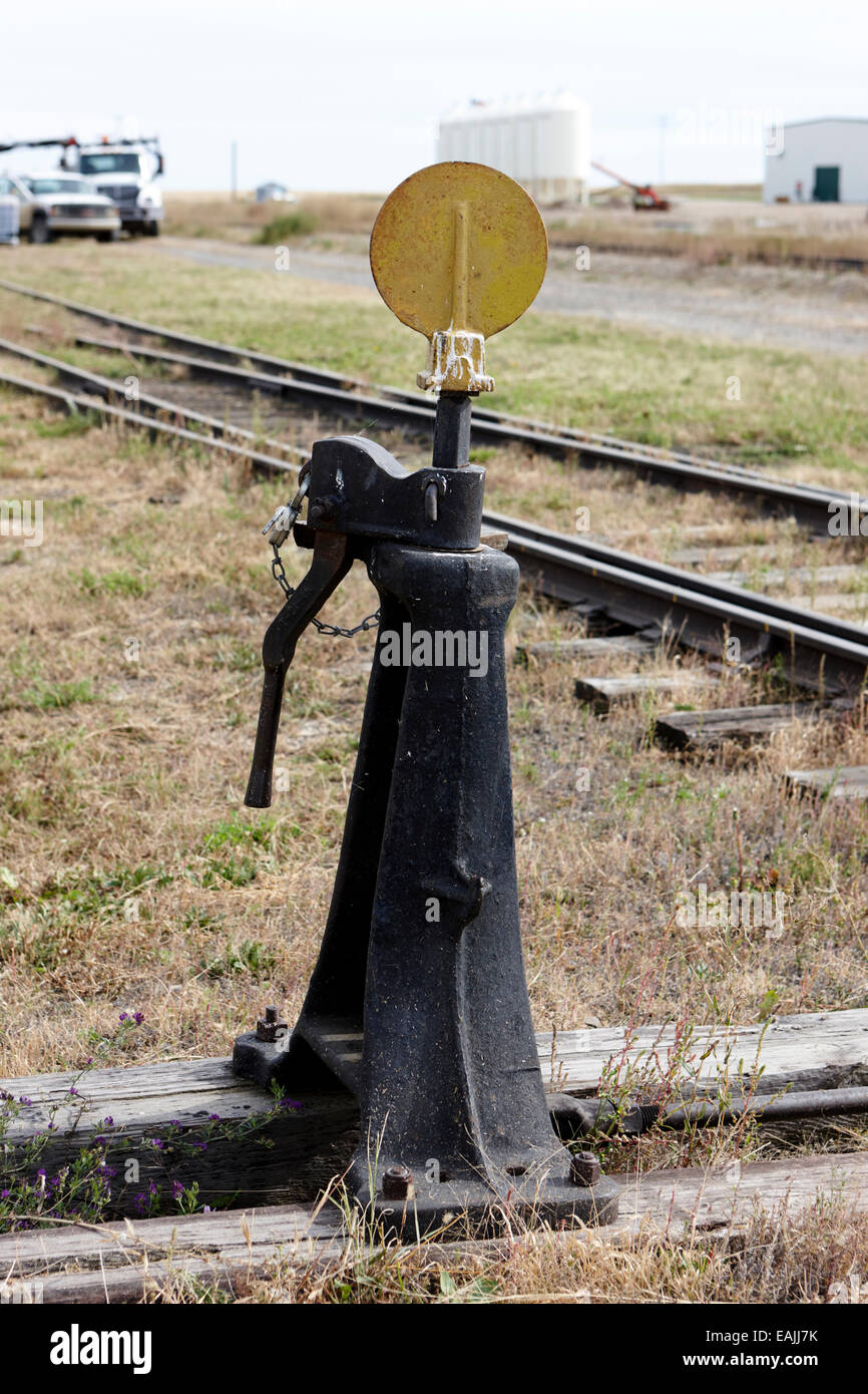 railroad points switch signal in a train yard Saskatchewan Canada - Stock Image