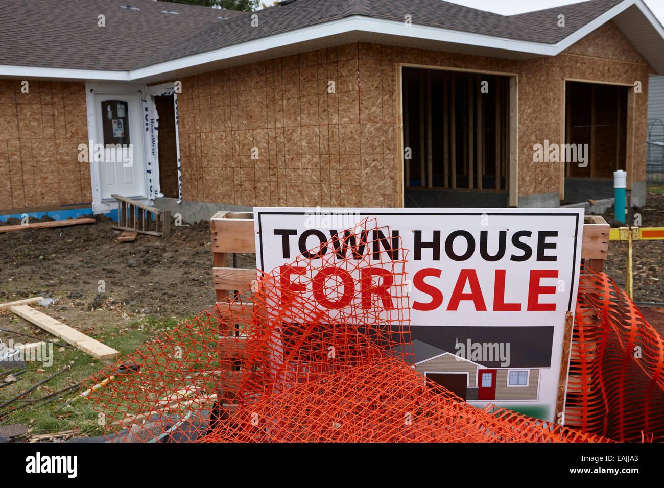town house for sale under construction Saskatchewan Canada - Stock Image