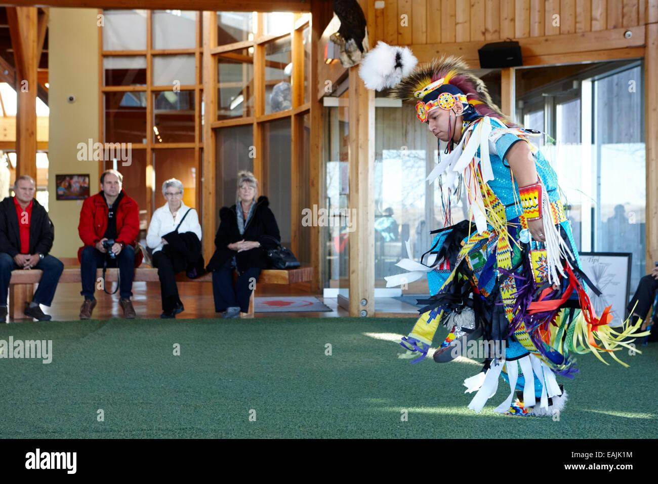 first nations grassdancer at Wanuskewin heritage park saskatoon Saskatchewan Canada - Stock Image
