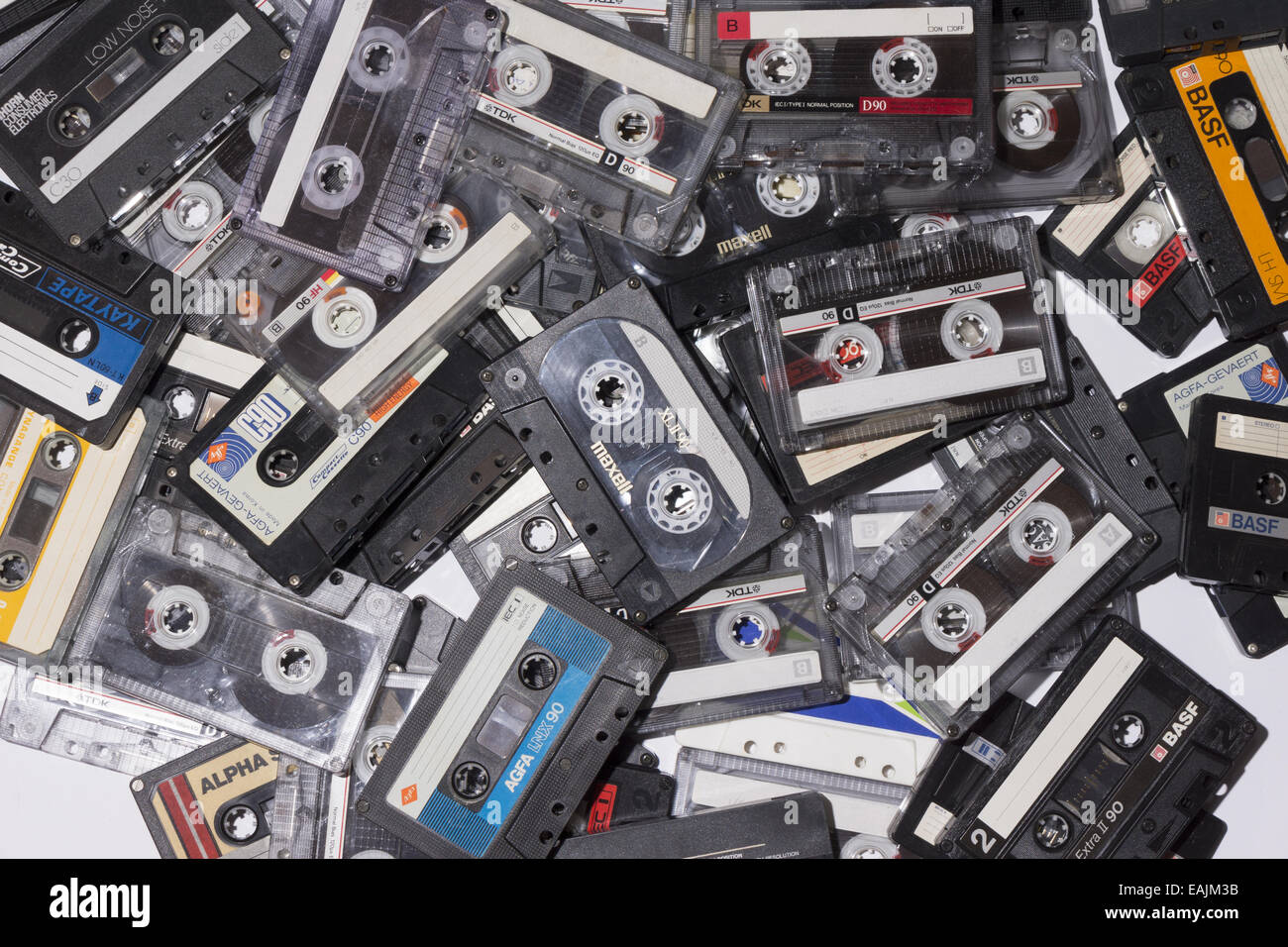 A pile of compact cassettes - Stock Image