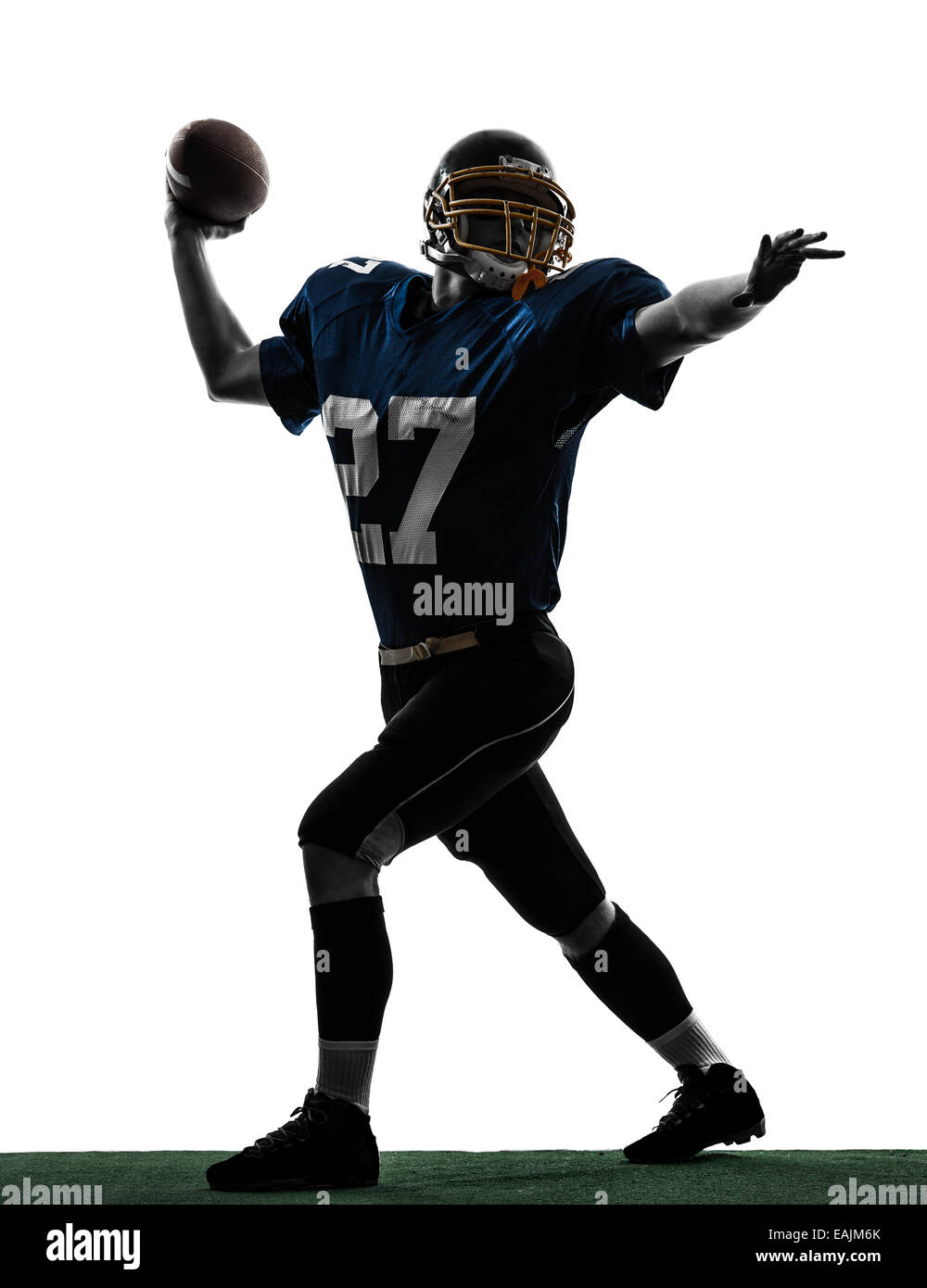 one  quarterback american throwing football player man in silhouette studio isolated on white background - Stock Image