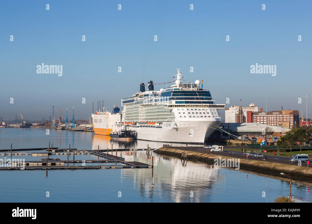 Cruise liner 'Celebrity Eclipse' moored at Southampton Docks on the Solent, Hampshire, UK - Stock Image