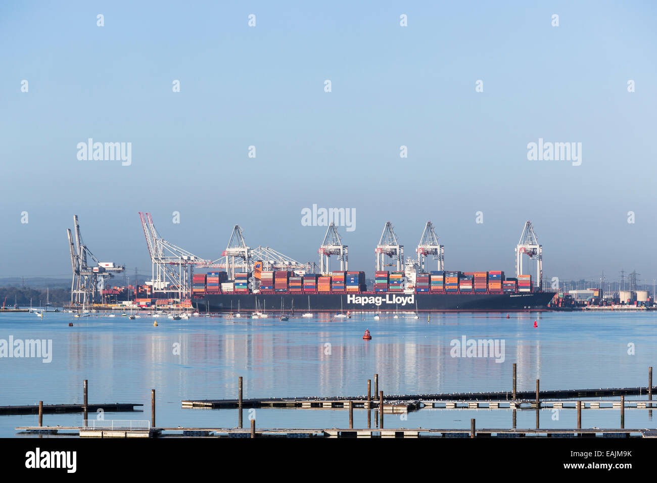 Huge Hapag-Lloyd container ship 'Shanghai Express' berthed at Southampton Docks on the Solent, Hampshire, - Stock Image