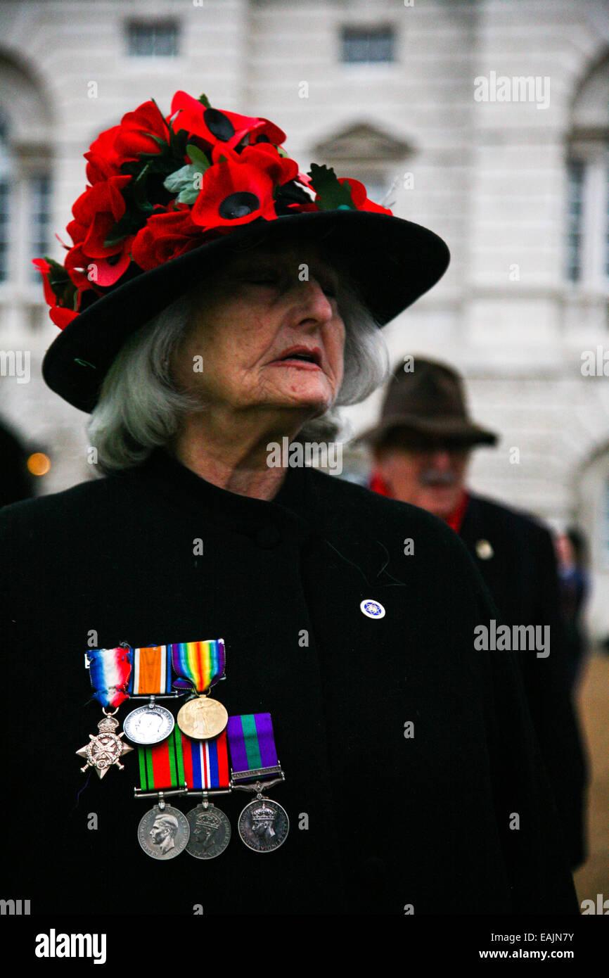 London, UK. 16th November, 2014. 80th Annual Remembrance Parade& Ceremony Credit:  Adina Tovy/Alamy Live News - Stock Image
