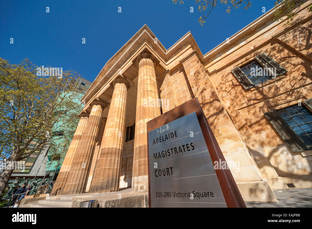 Magistrates Court of South Australia building in Adelaide Victoria Square. Facade; front entrance with sign. - Stock Image