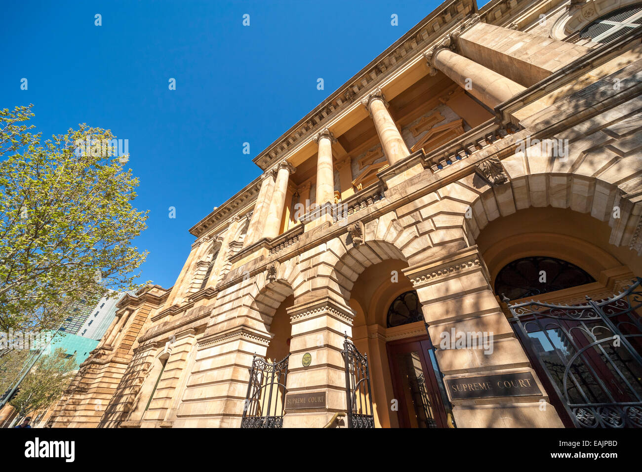 Supreme Court of South Australia building in Adelaide Victoria Square. Facade; front entrance with sign. - Stock Image