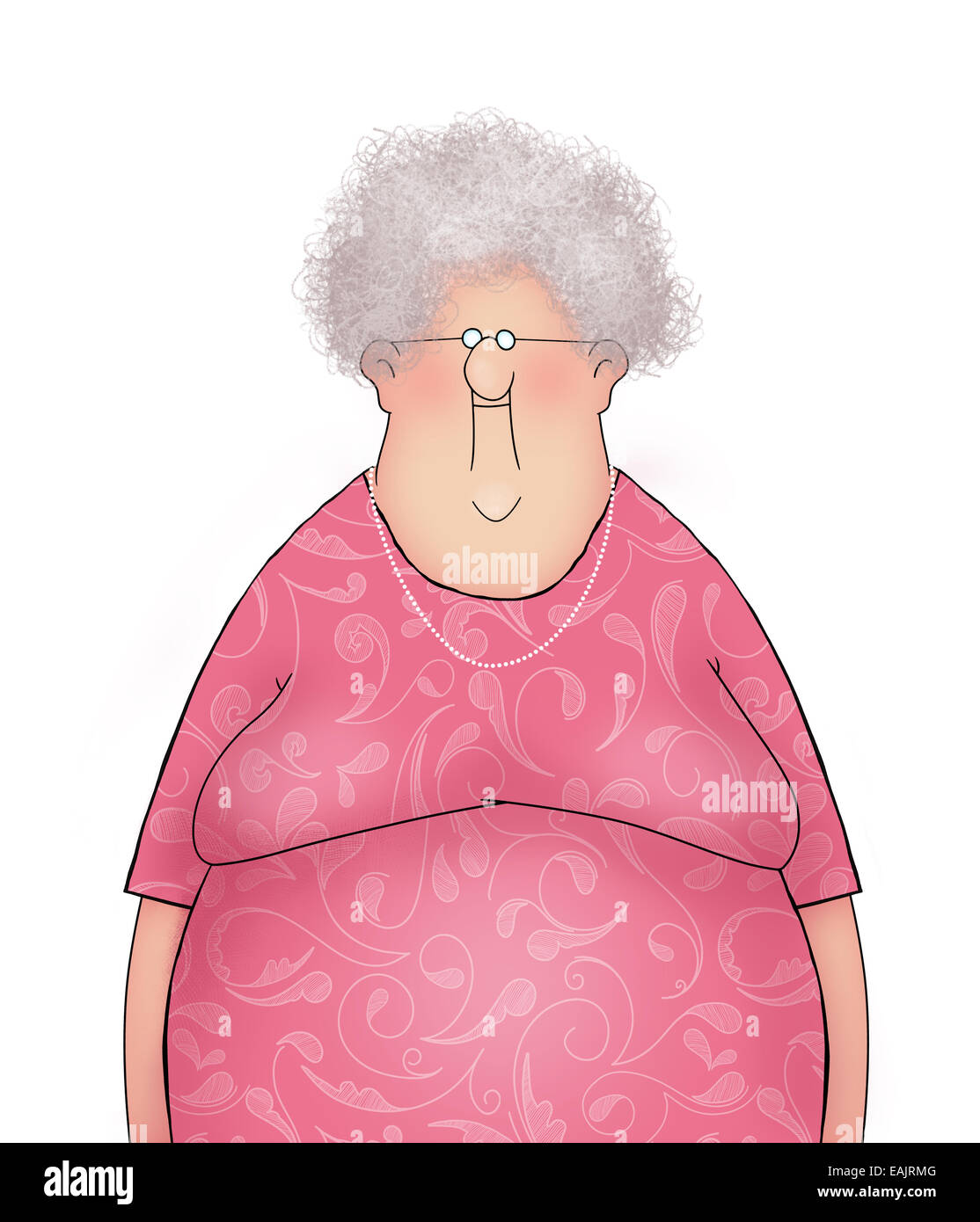 Funny Old Lady In A Pink Dress
