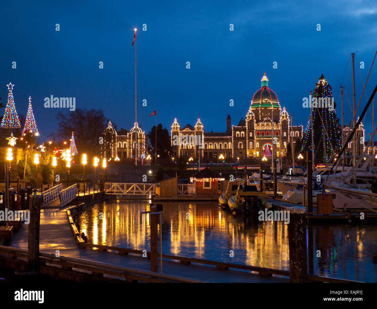 Christmas Lights Adorn The British Columbia Parliament Building And Inner Harbour In Victoria Canada