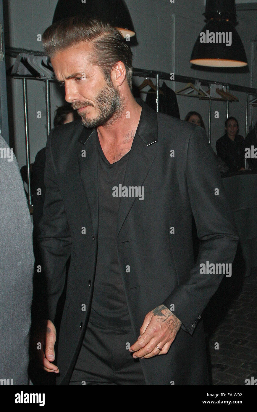 ddbf1f5e59 David Beckham H&M swimwear collection launch party at shoreditch house.  Ellie Gouilding, Niall Horan and Liam Payne were seen leaving the bash  along with ...