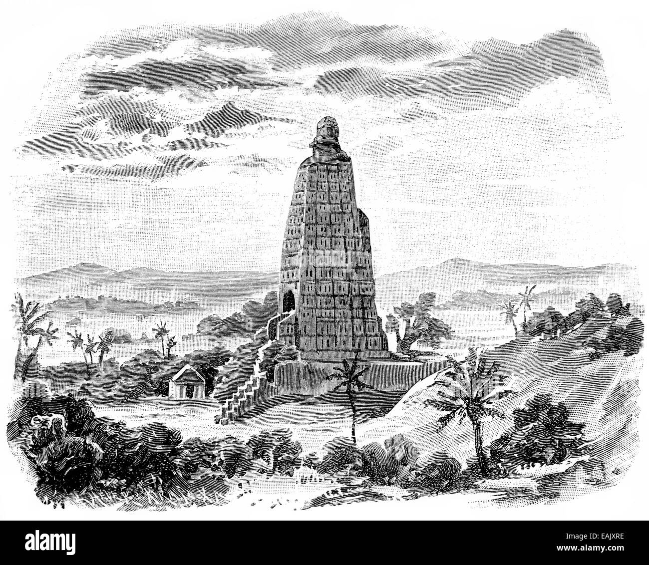 Historical print from the 19th century, the tomb of Buddha, Historische Druck aus dem 19. Jahrhundert, Grabmal des - Stock Image