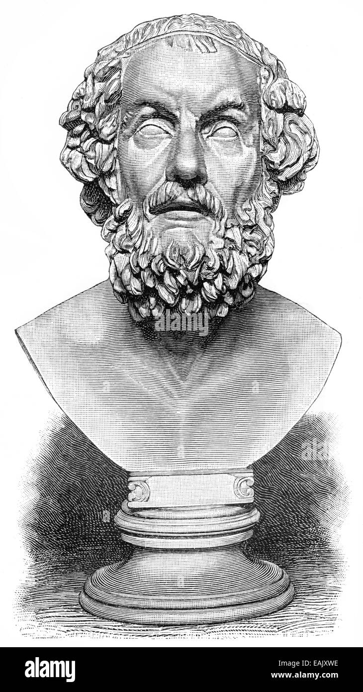 A bust of Homer, poet of antiquity, author of the Iliad and the Odyssey, Büste von Homer, etwa 850 v. Chr., - Stock Image