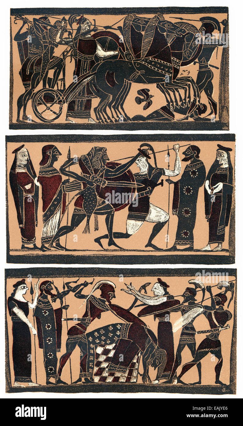facsimile of an ancient Greek heroic legend, vase painting, Greece, Europe , Faksimile zu antiken griechischen Heldensagen, - Stock Image