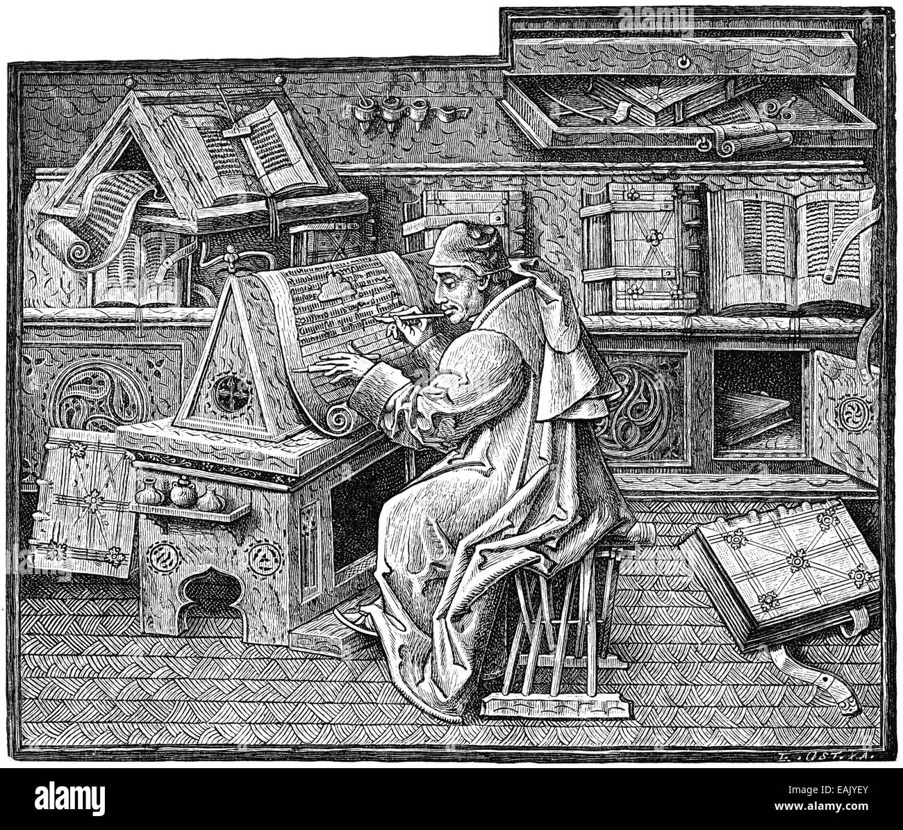 illustration of a scholar in the study, 15th century, Zeichnung eines Gelehrten im Arbeitszimmer, 15. Jahrhundert - Stock Image