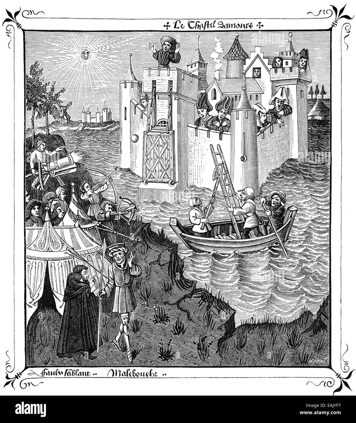 storming of Minneburg Castle, illustration from Le Champion des Dames or The Champion of Women, by Martin le Franc, - Stock Image