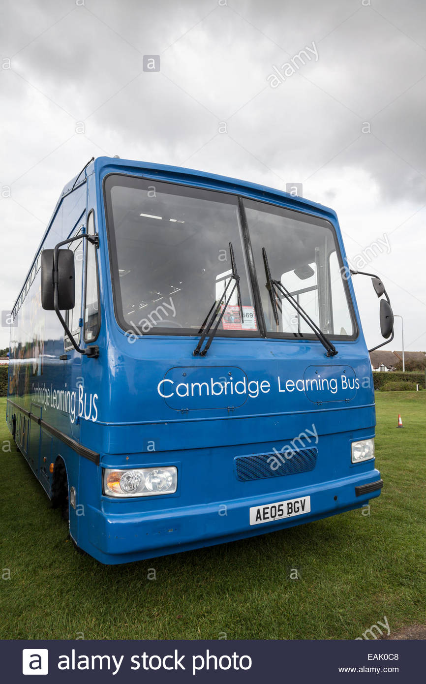 Cambridge Learning Bus - Mobile bus for education - Stock Image