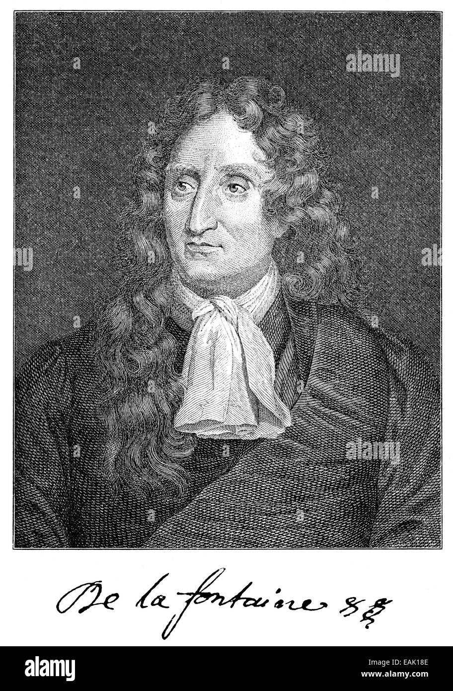 Jean de La Fontaine, 1621 - 1695, a French writer, Portrait von Jean