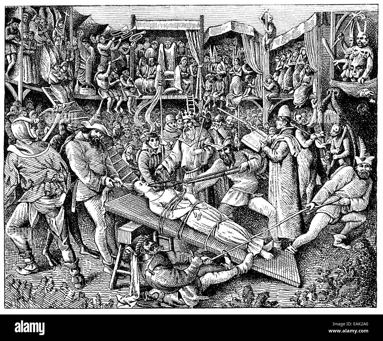 Medieval torture, mystery drama, Darstellung einer mittelalterlichen Folterung, Mysteriendrama - Stock Image