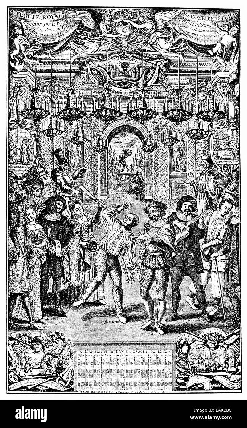 Italian actors in a performance, Hotel Bourgogne, Paris, France, 17th century, Europe, Darstellung italienischer - Stock Image