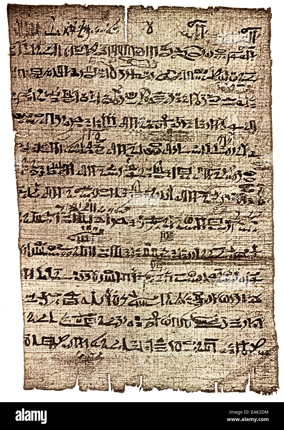 Papyrus with hieratic script, description of Pi-Ramesses, the capital of Ancient Egypt built under Ramses II, ca - Stock Image