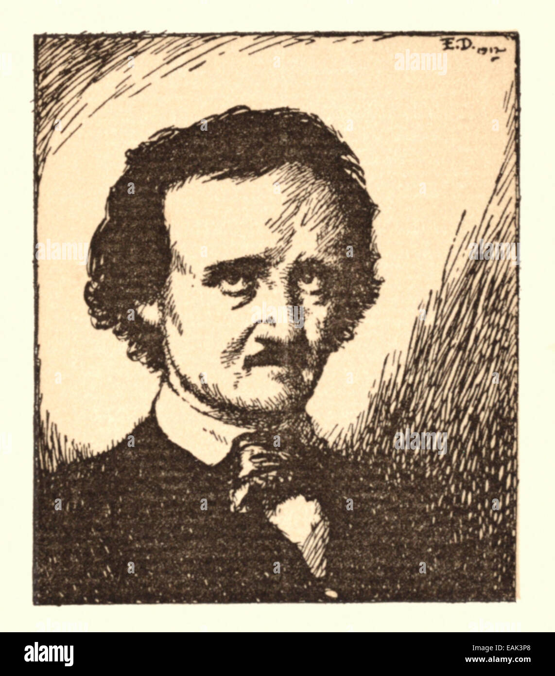 Portrait of Edgar Allan Poe (1809-1849), illustration by Edmund Dulac (1882-1953) who illustrated a collection of - Stock Image