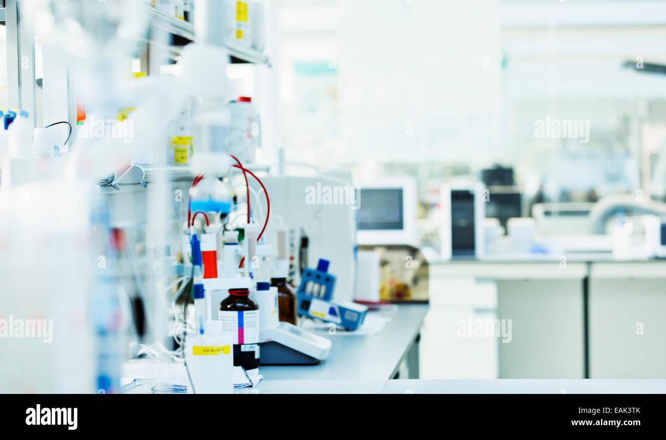 Desk in laboratory - Stock Image