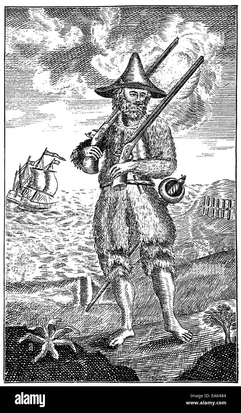 Title illustration of  of Robinson Crusoe by Daniel Defoe, 1661 - 1731, an English dealer, writer and journalist, - Stock Image