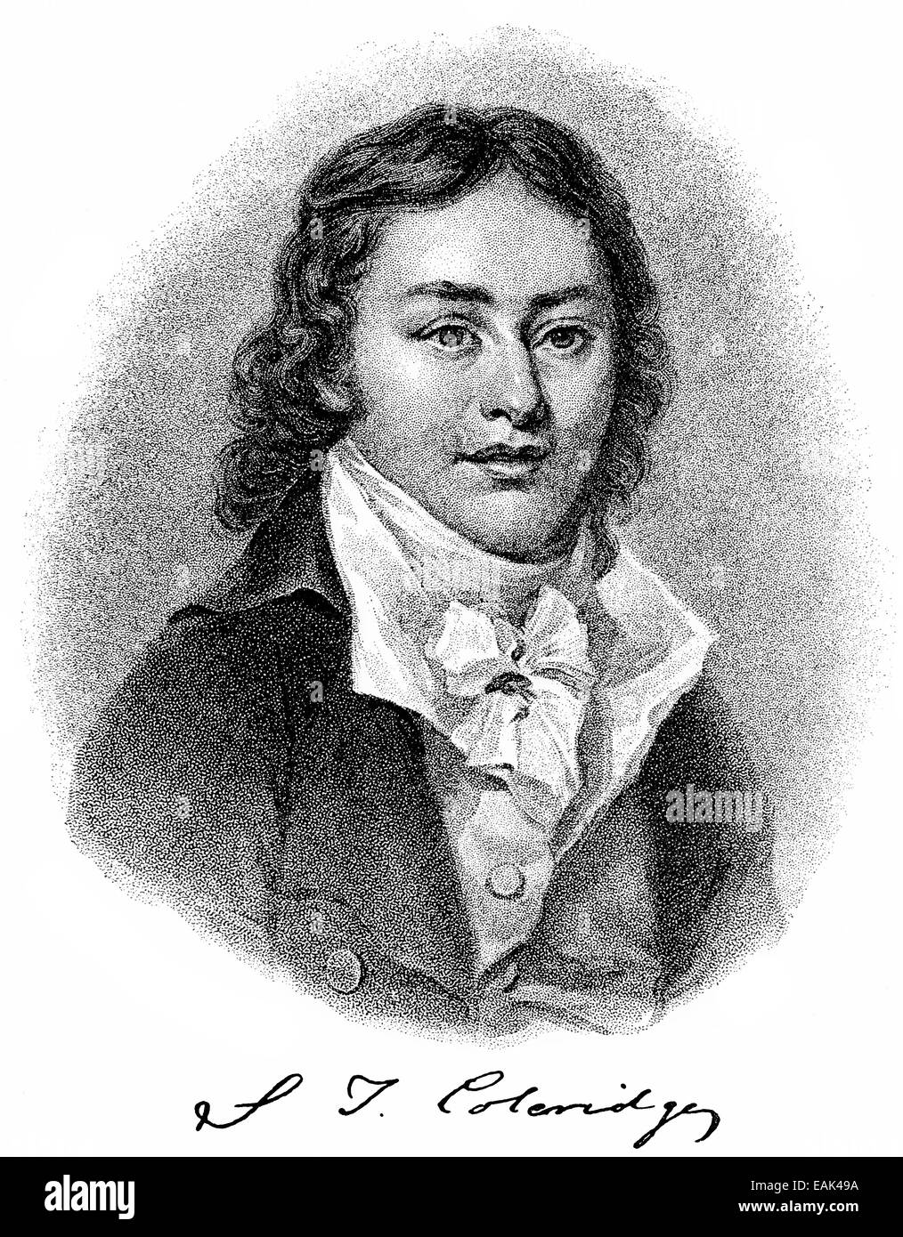 Samuel Taylor Coleridge, 1772 - 1834, an English Romantic poet, critic and  philosopher, Historische Zeichnung aus dem 19. Jahrhu