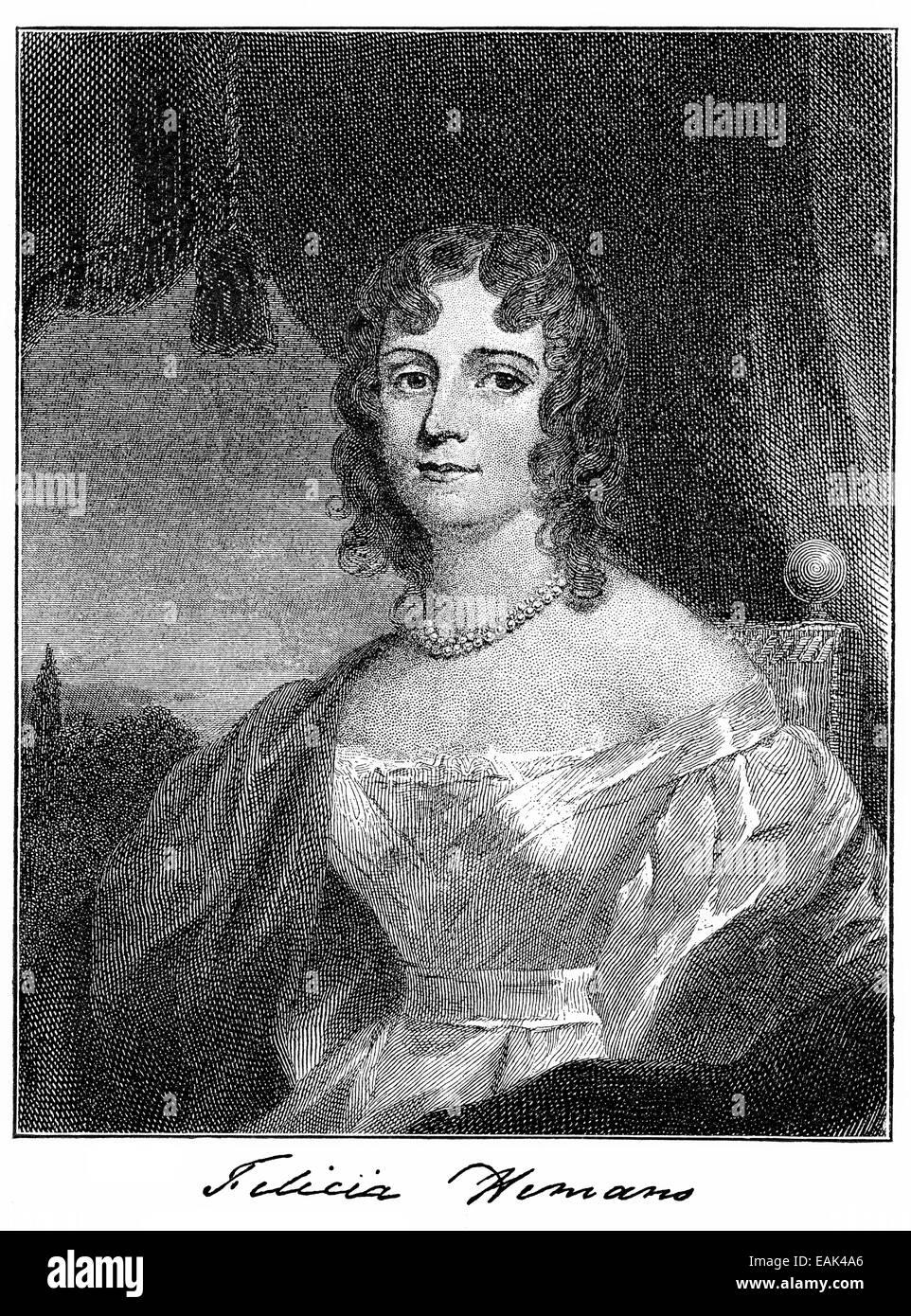 Felicia Dorothea Hemans, 1793 - 1835, an English poet, Felicia Dorothea Hemans, 1793 - 1835, eine britische Dichterin - Stock Image