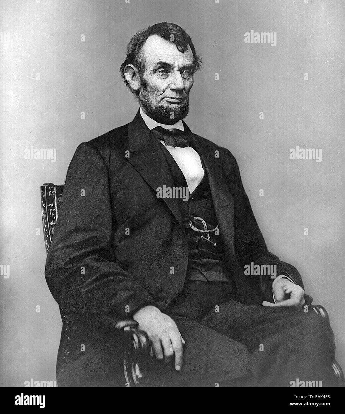 ABRAHAM LINCOLN (1809-1865) American President photographed by Matthew Brady 9 February 1864 - Stock Image