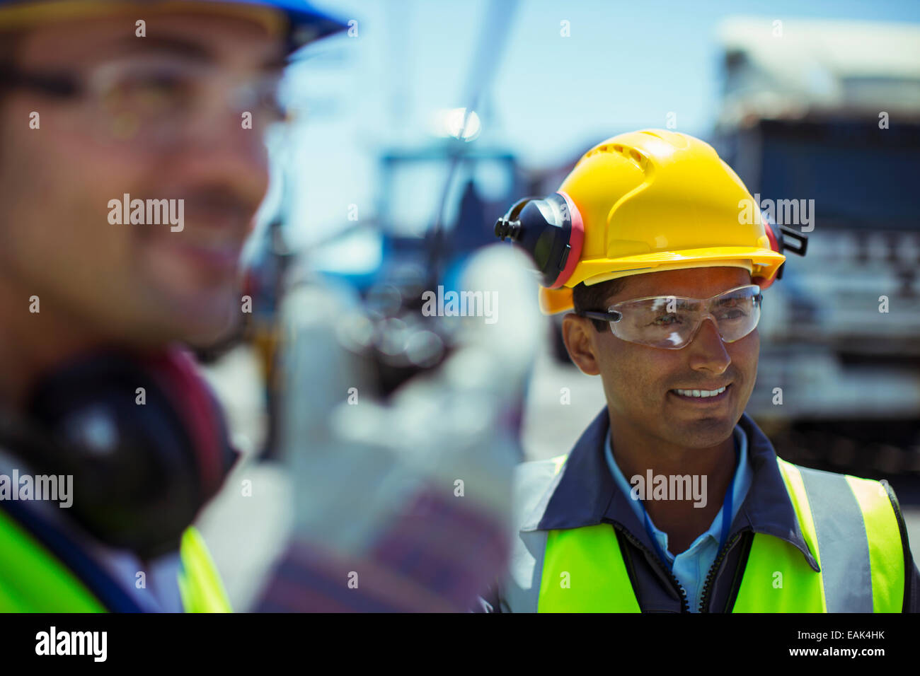 Workers with walkie-talkie - Stock Image