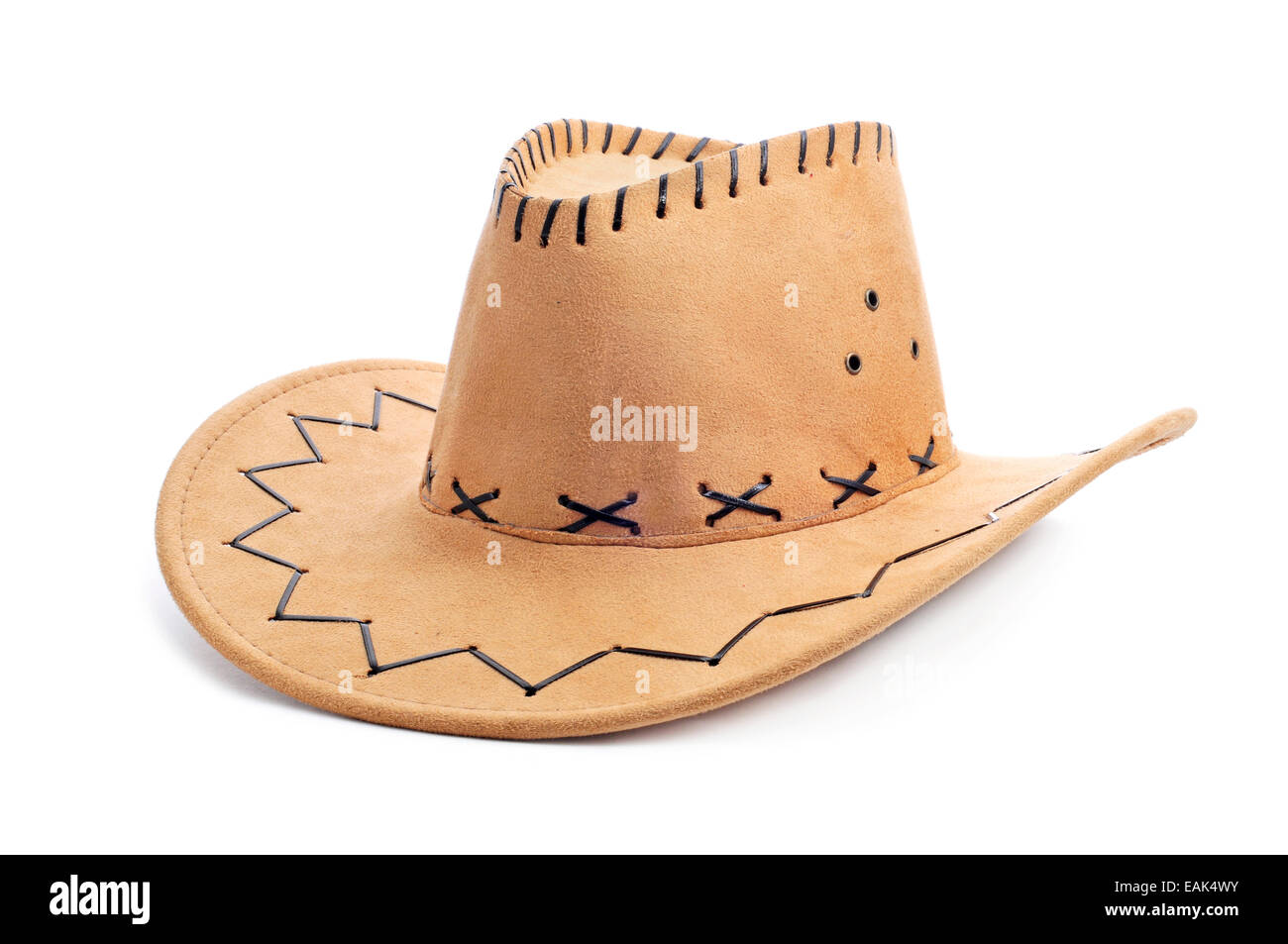 a leatherette cowboy hat on a white background - Stock Image