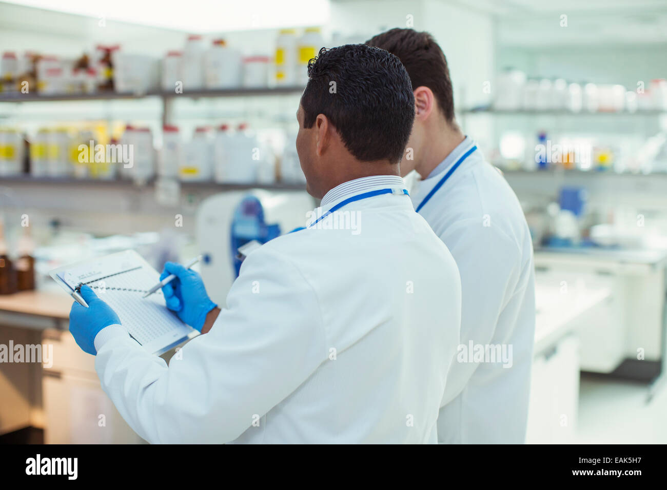 Scientists taking notes in laboratory - Stock Image