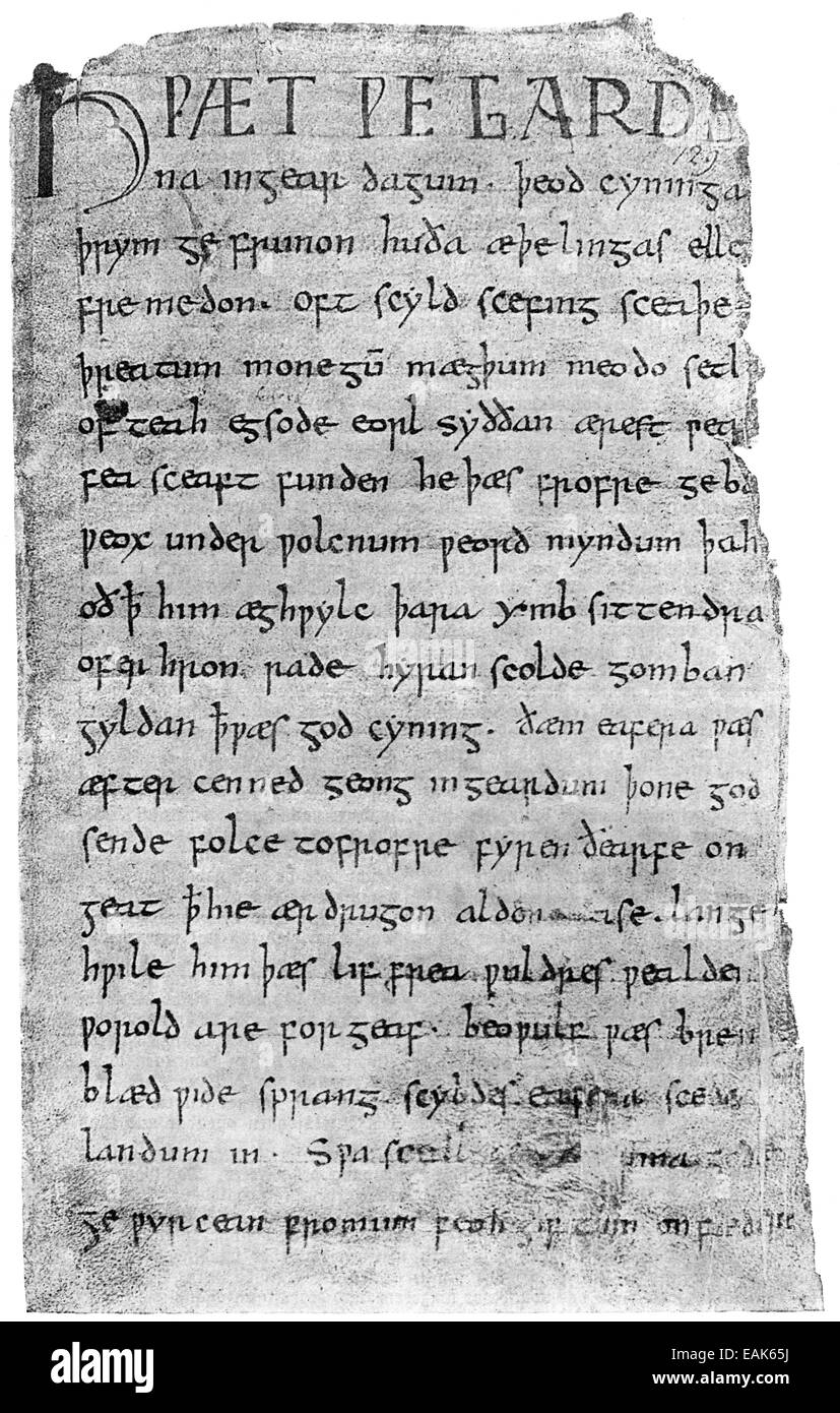 cover page from Beowulf, epic heroic poem in Anglo-Saxon alliterative verse from the 10th Century, 1. Seite aus - Stock Image