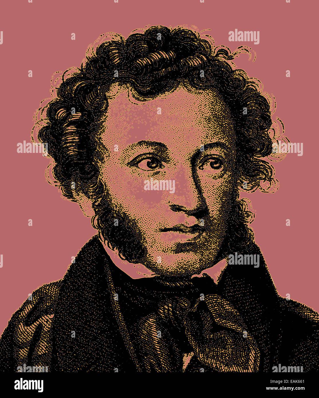 Alexander Sergeyevich Pushkin, 1799-1837, Russian poet and the founder of modern Russian literature, Portrait von - Stock Image