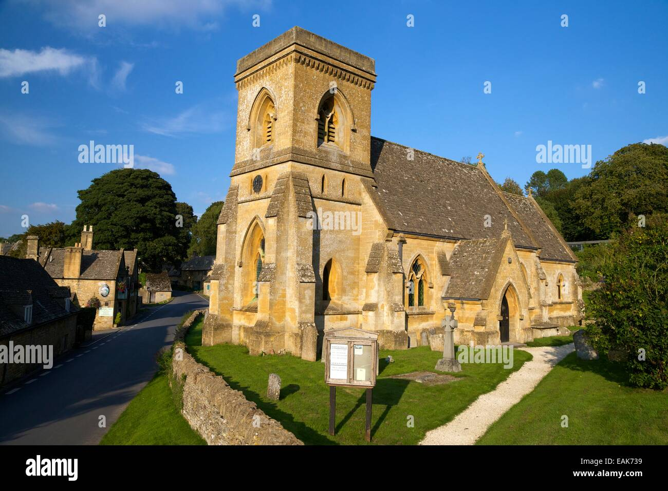 St Barnabas Church in evening sunshine, Snowshill, Cotswolds, Gloucestershire, England, UK, GB, Europe - Stock Image