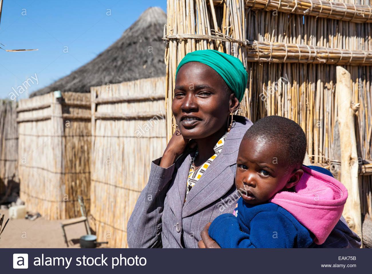 Mother and child, Tsodilo Hills, Botswana - Stock Image
