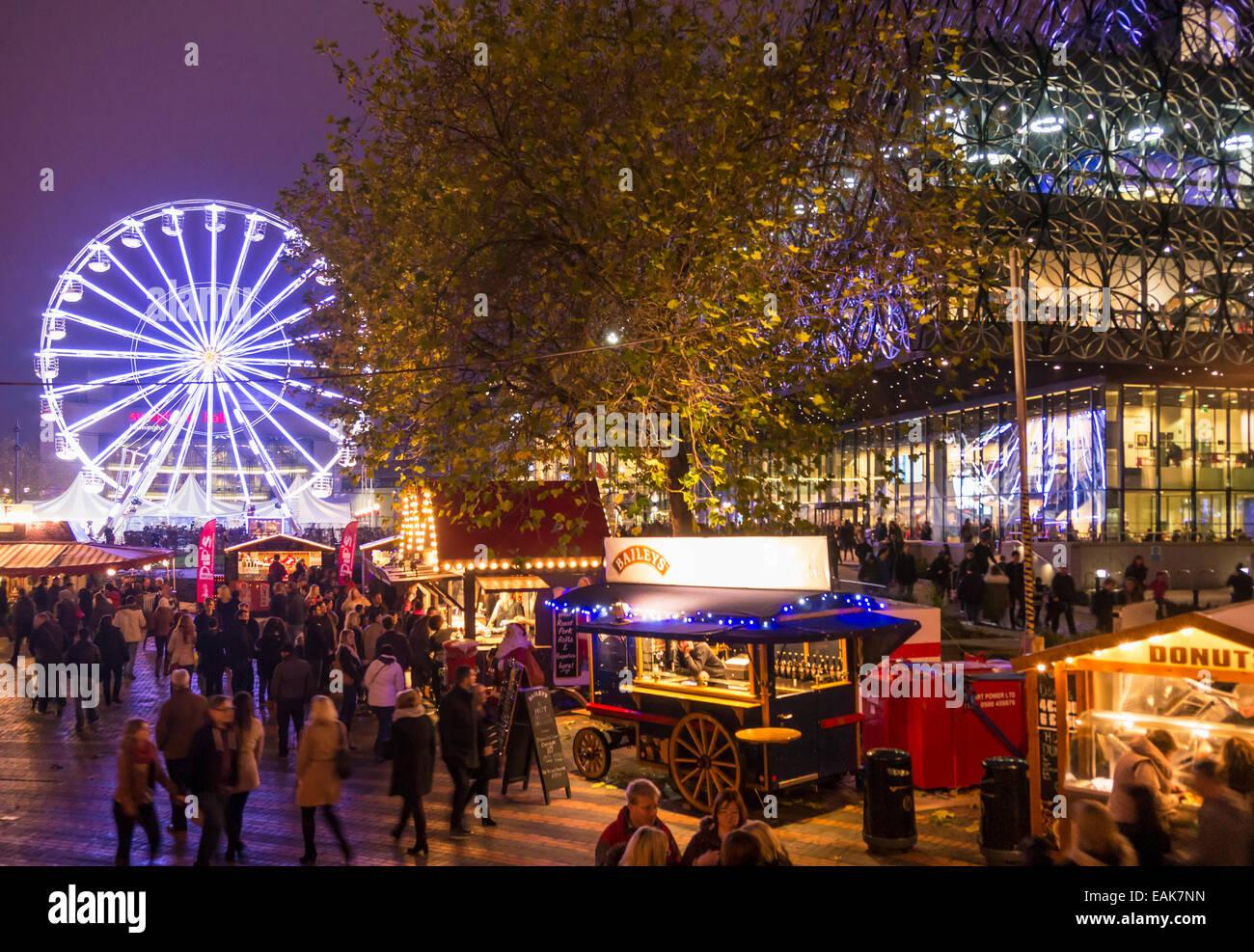 Birmingham Centenary square with big wheel and christmas market stalls West Midlands England UK GB Europe - Stock Image