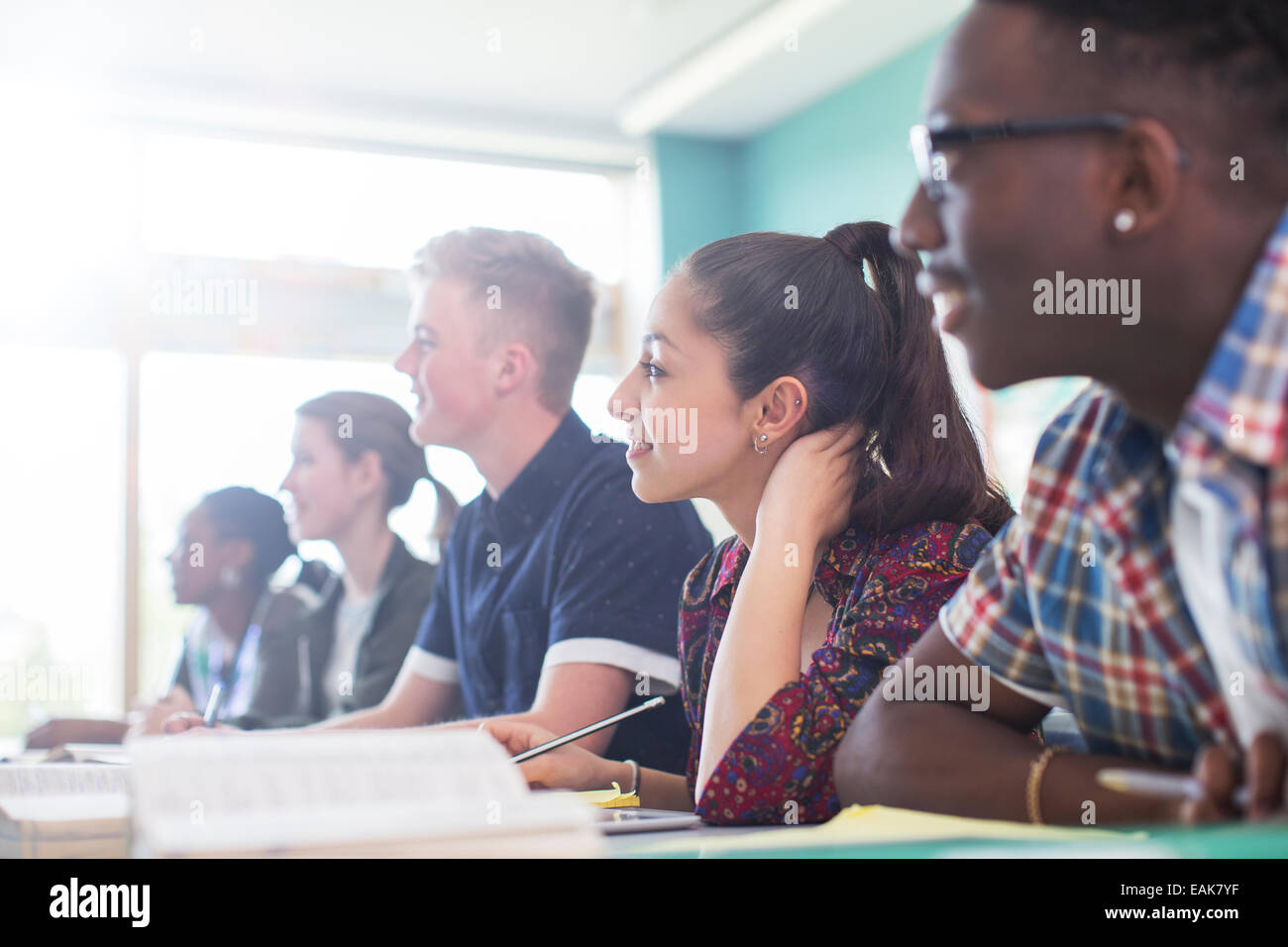 Students in classroom during lesson - Stock Image