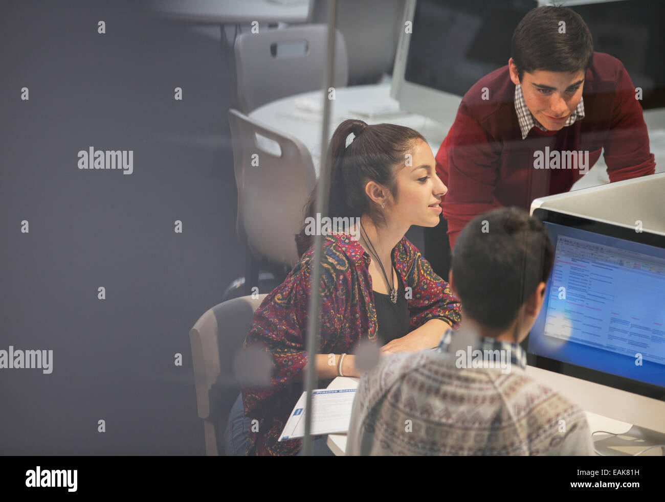 Students during IT lesson - Stock Image