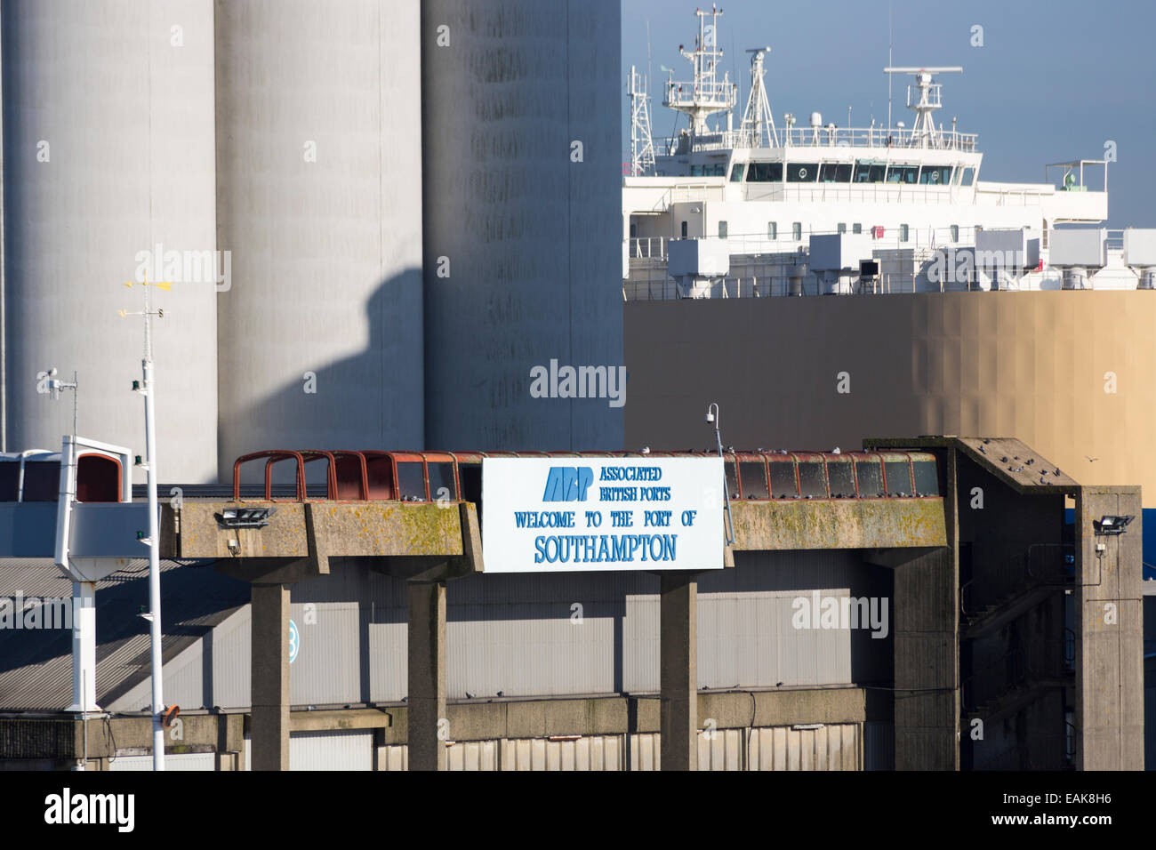 Sign for ABP, Associated British Ports, and the Port of Southampton, at Southampton Docks, Hampshire, UK - Stock Image