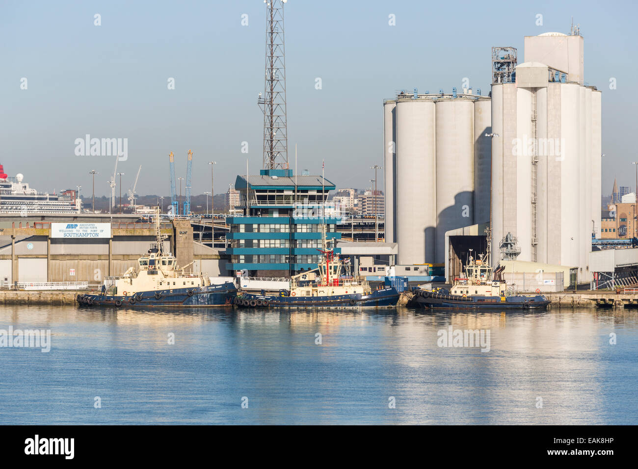 Tugs moored at the quayside, Southampton Docks, Port of Southampton, the Solent, Hampshire, UK - Stock Image