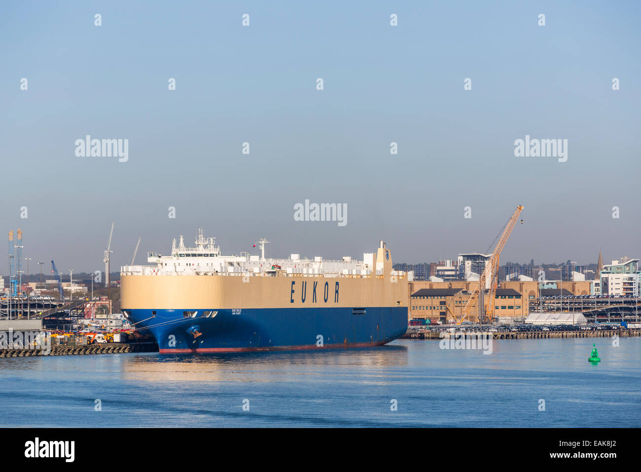Huge 'Eukor' Pure Car and Truck Carrier 'Asian Majesty' berthed at Southampton Docks, Port of Southampton, - Stock Image