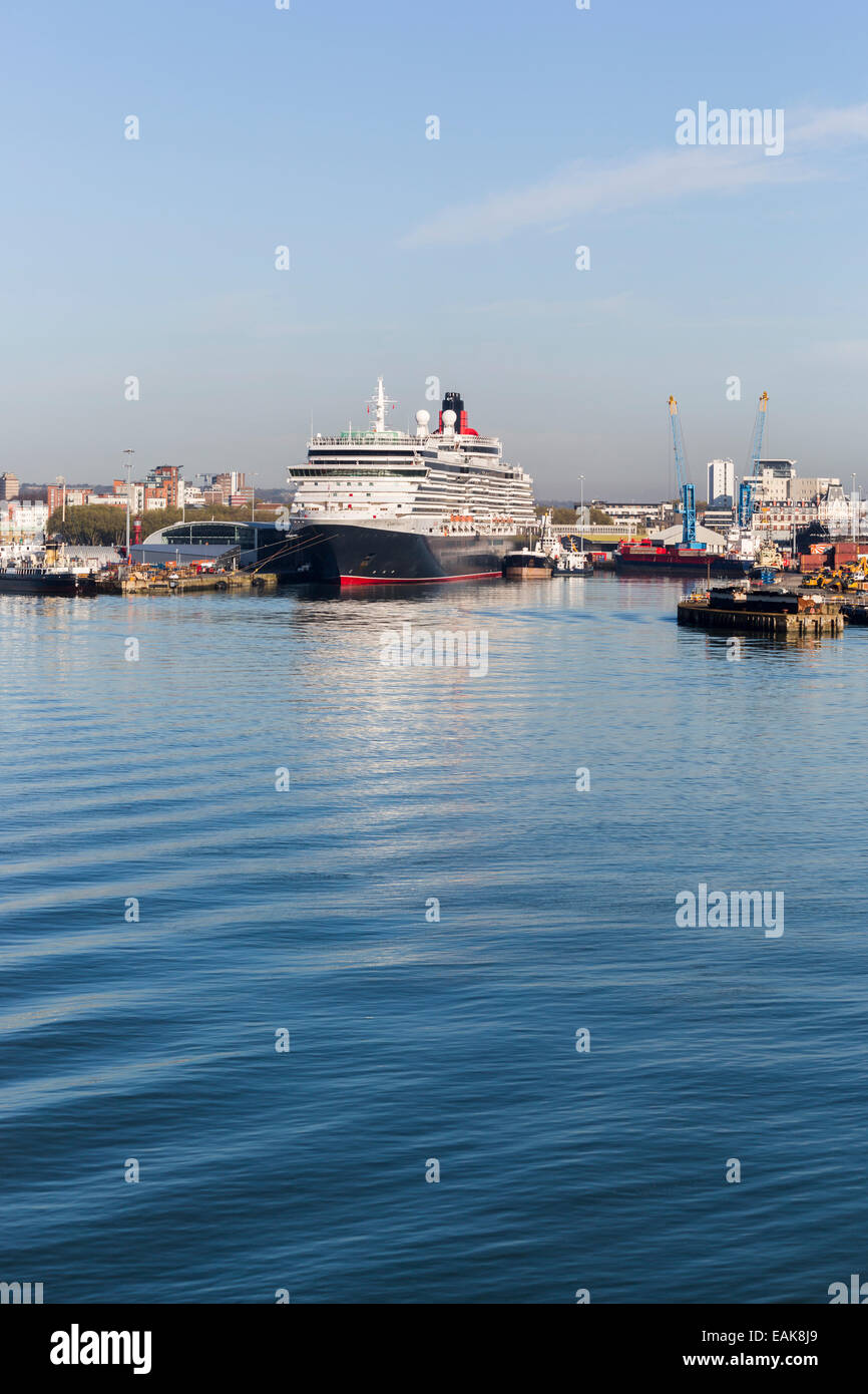 The Cunard cruise liner 'Queen Victoria' moored at Southampton Docks on the Solent, Hampshire, UK - Stock Image