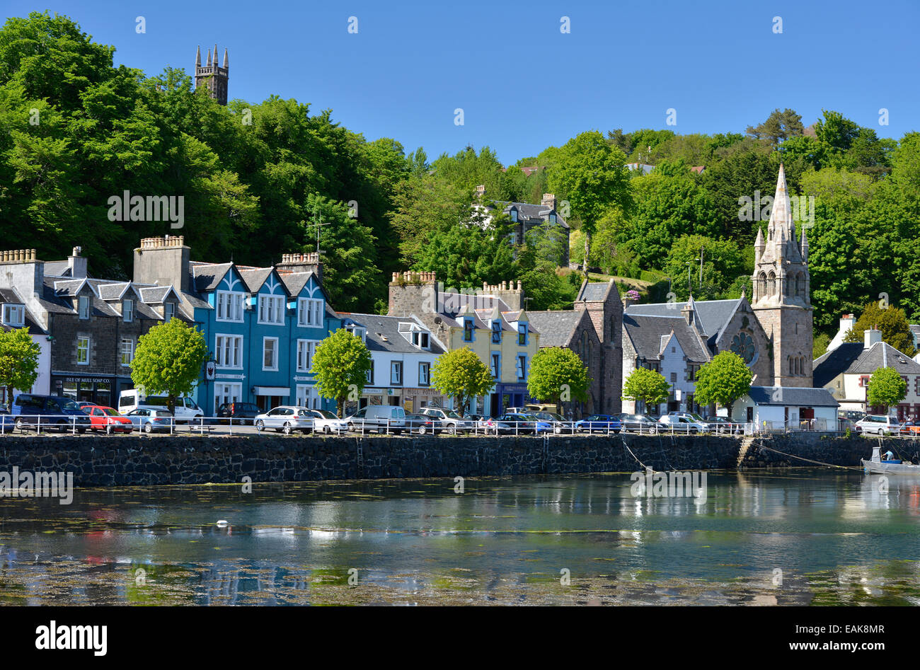 Houses on the harbour, Tobermory, Isle of Mull, Scotland, United Kingdom - Stock Image