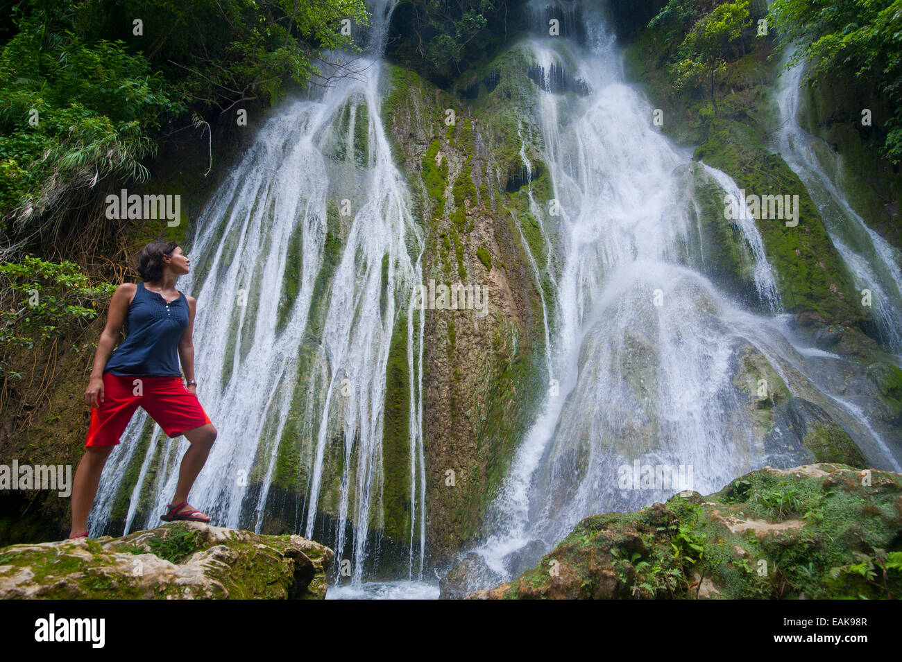 Woman looking at the Mele-Maat Cascades, Mele Maat, Efate Island, Shefa Province, Vanuatu - Stock Image