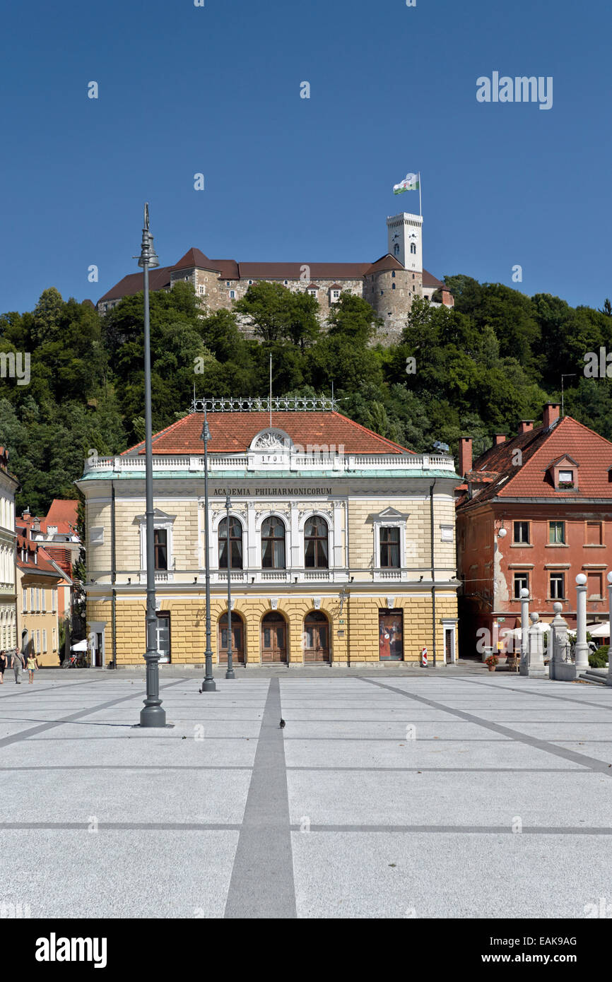 Academia Philharmonicorum, Congress Square, Ljubljana, Slovenia - Stock Image