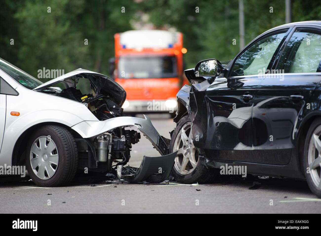 Scene of an accident, head-on collision between an Audi and a Ford ...