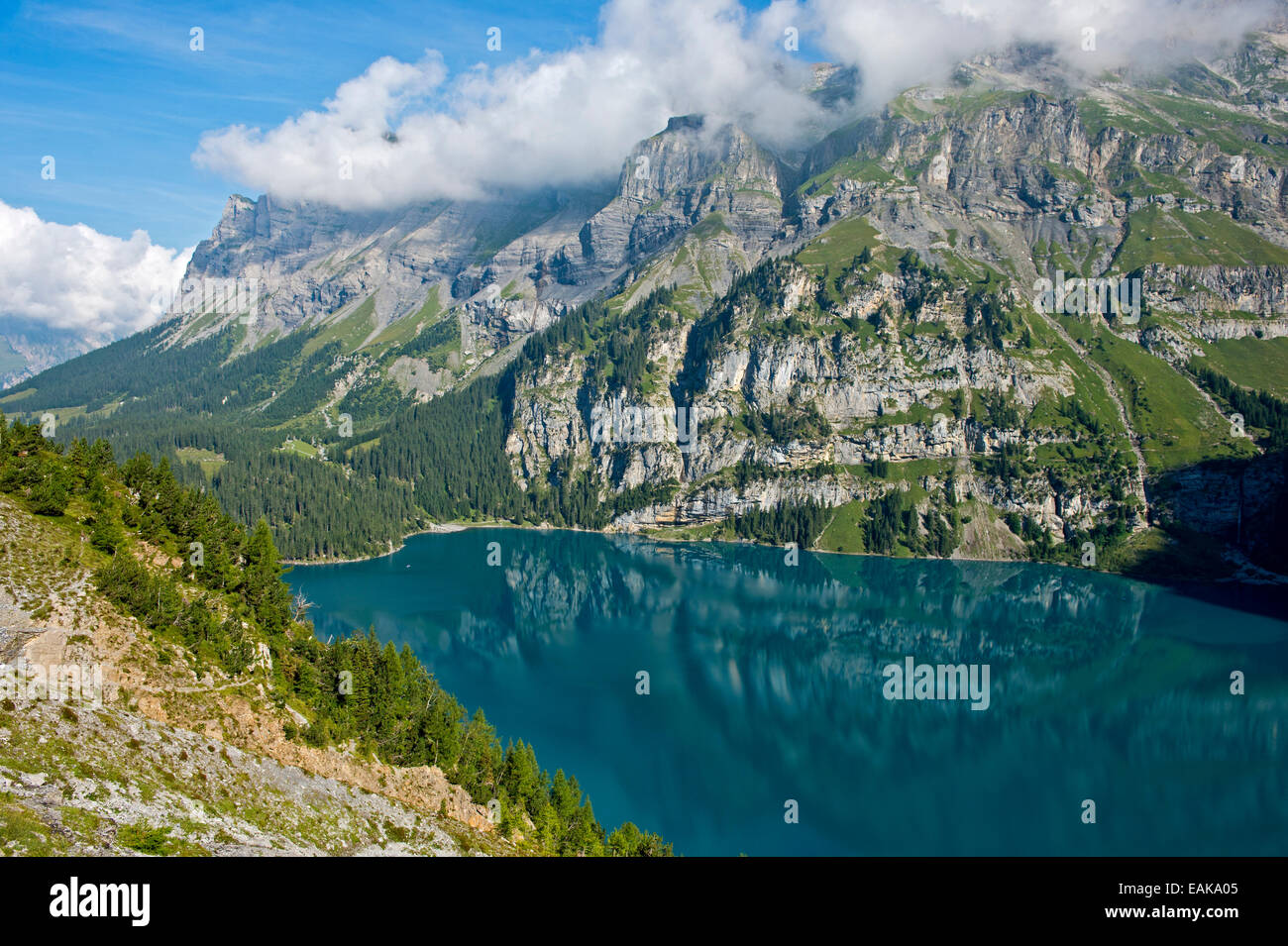 Oeschinen Lake in a UNESCO World Natural Heritage Site of the Swiss Alps, Kandersteg, Bernese Oberland, Canton of - Stock Image