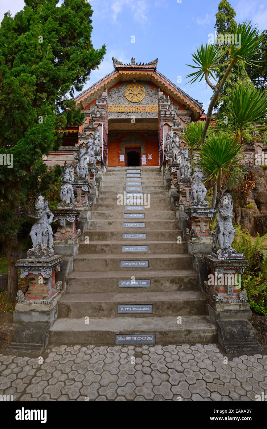 Access stairs, with preligious sayings on each step, of the Buddhist monastery Brahma Vihara, Banjar, North Bali, - Stock Image