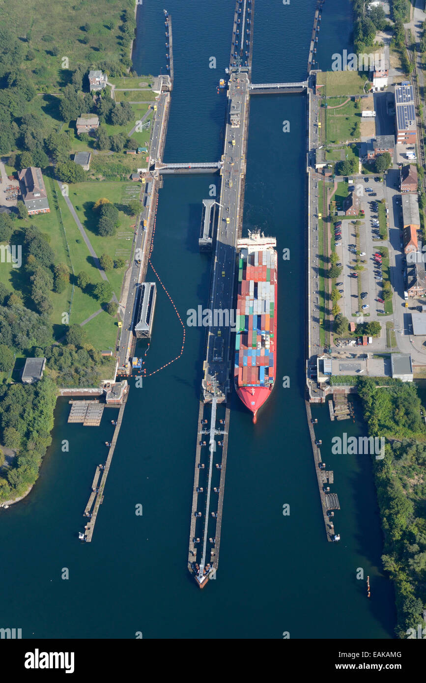 Kiel-Holtenau canal locks, northern end of the Kiel Canal, Nord-Ostsee-Kanal, aerial view, Kiel, Schleswig-Holstein, - Stock Image